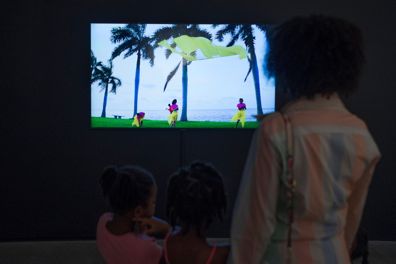 Installation view of video by Felecia Chizuko Carlisle at MOCA Nomi