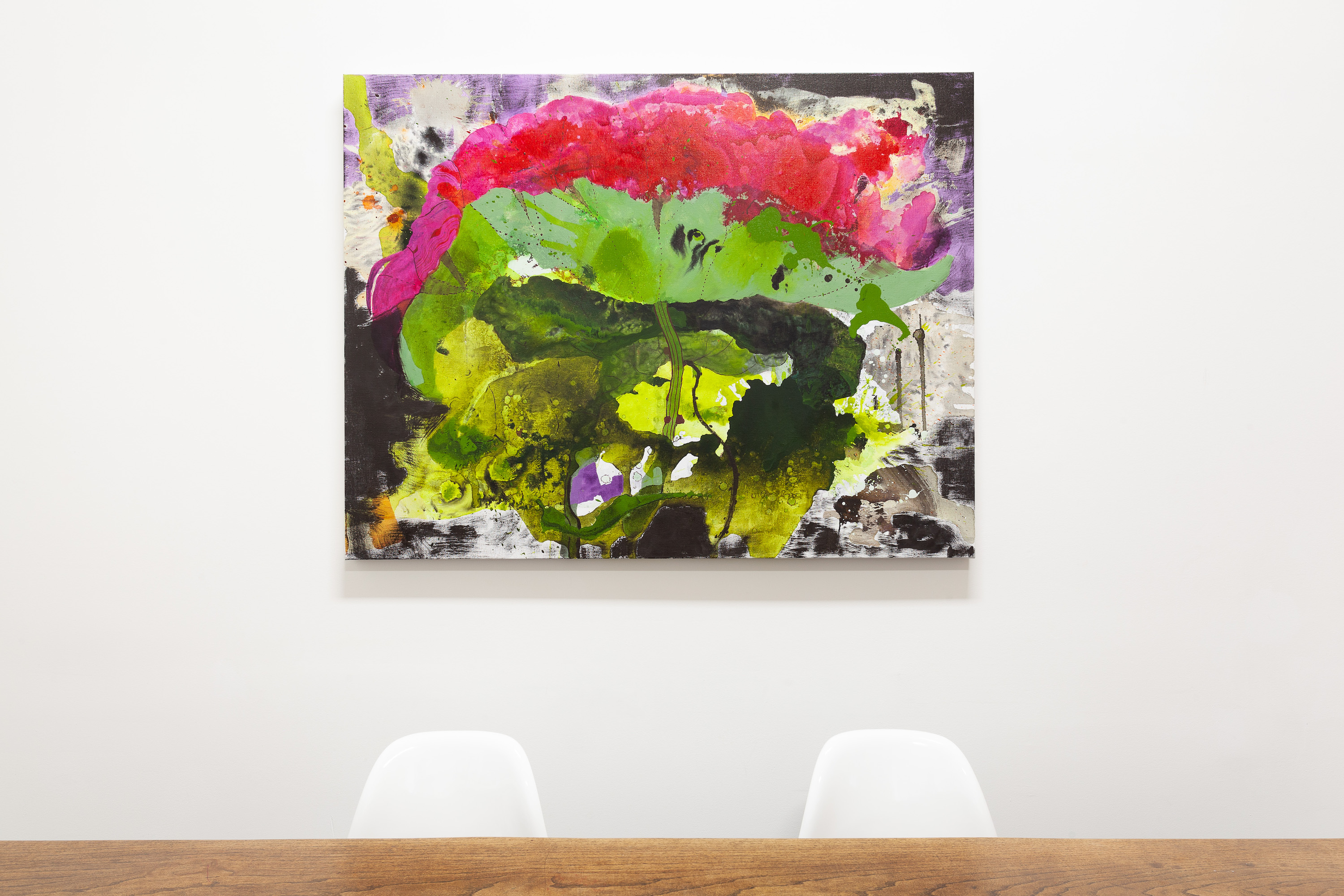 Elisabeth Condon painting of a lotus flower on the office wall