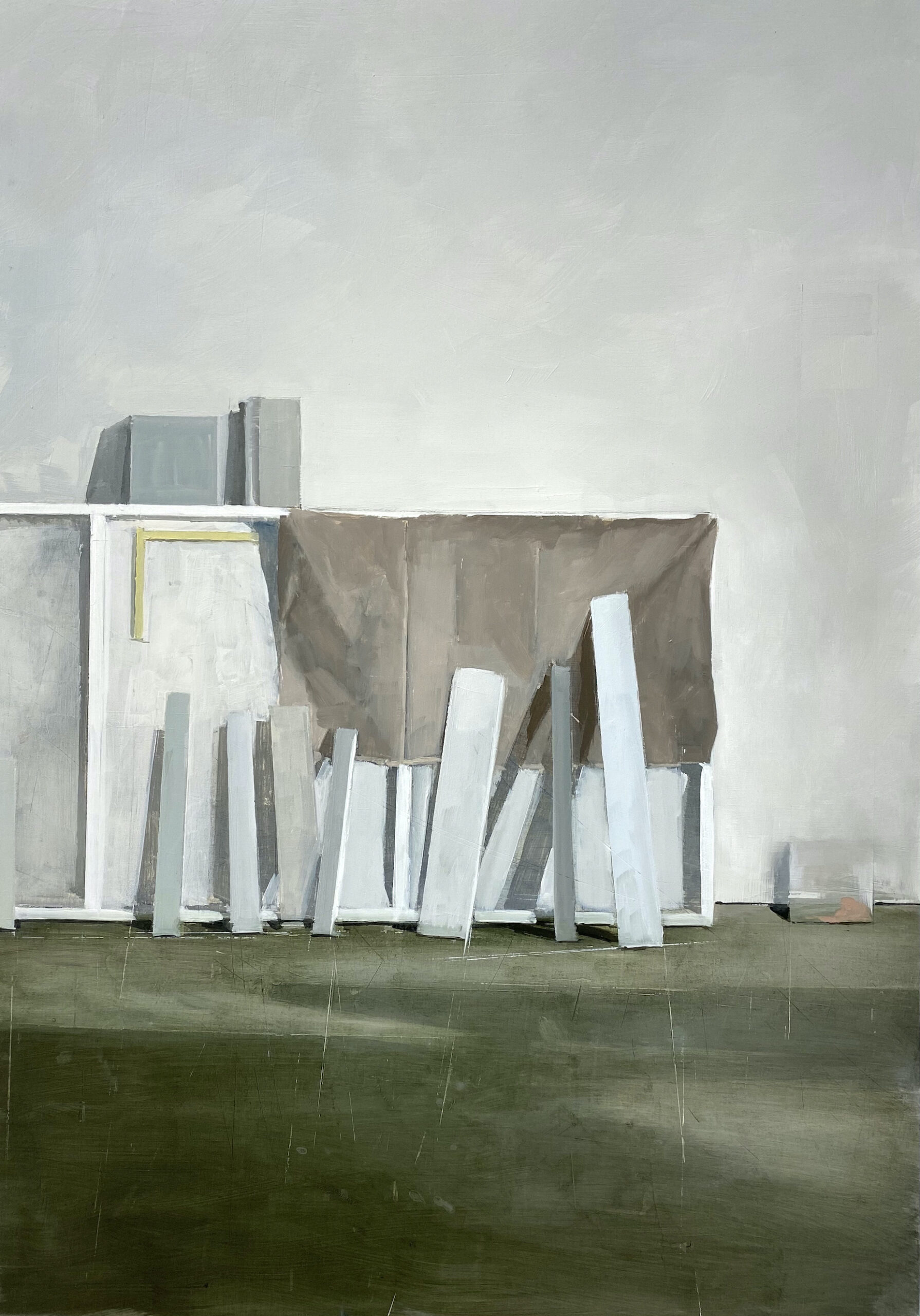 Jenny Brillhart, Upward Tick Over Linen and Panel, 2021, Private Collection California
