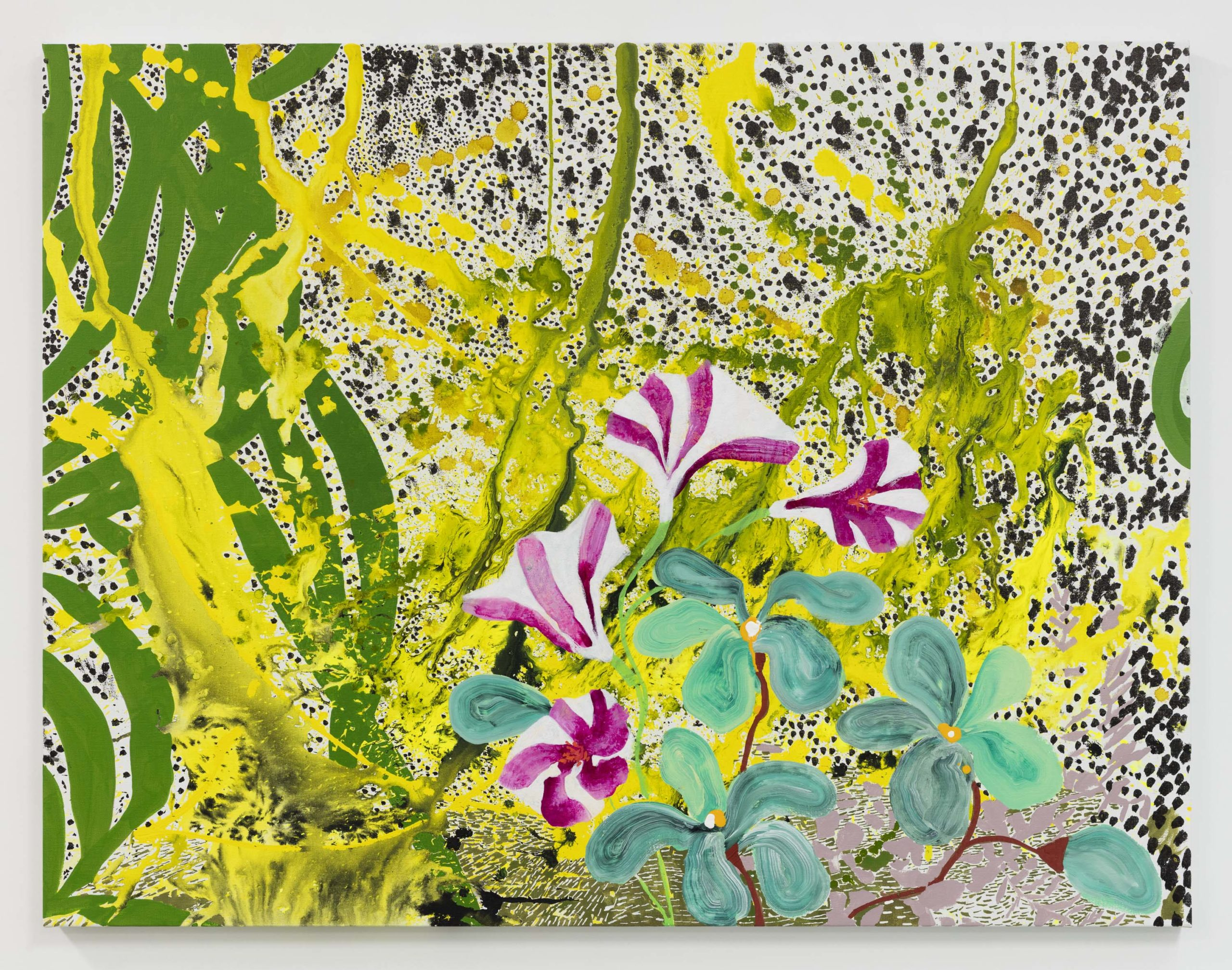 Elisabeth Condon's painting Trumpet Flower (2019) represents the pink and white flower on a background suggesting ferns and mottled stone like Oolite.