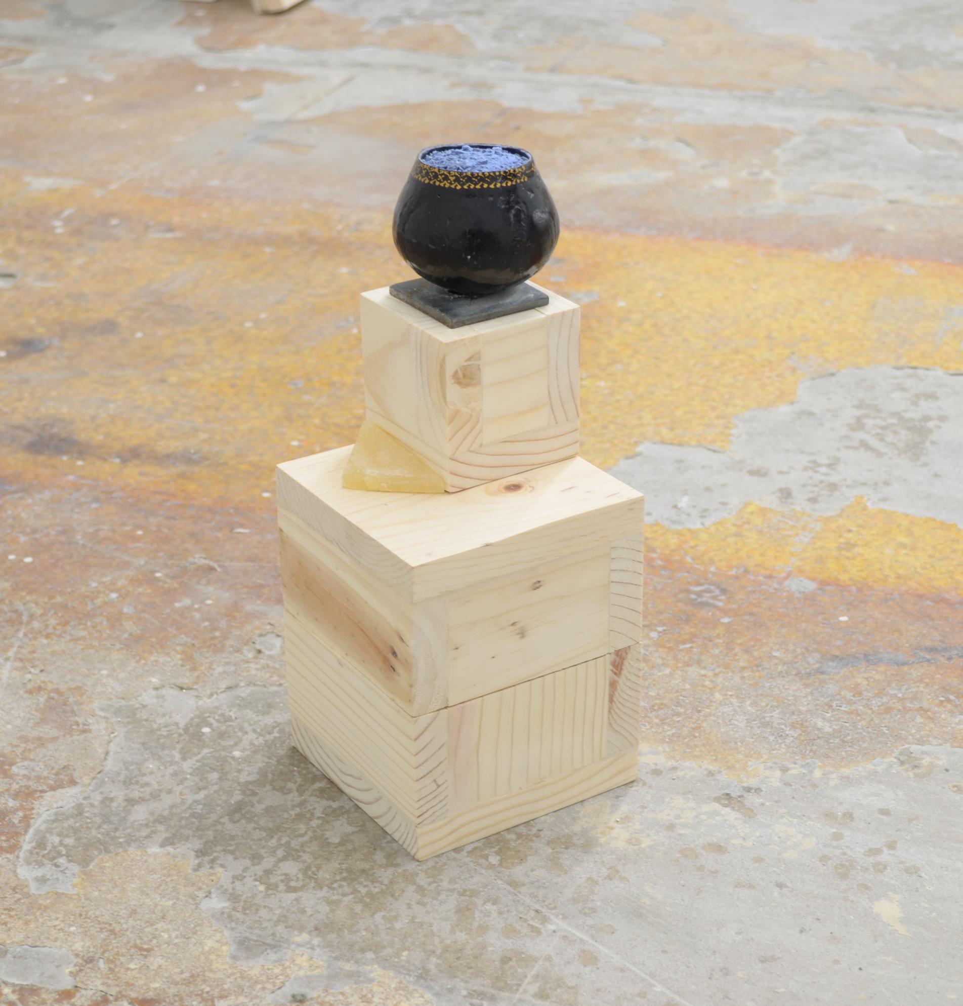 Yanira Collado, Fragment 2 (If they knew these things / Reliquias Ocultadas), 2020, Wood, javon de cuava, javon de jamaica, tin jar, and cotton, 8 x 8 inches