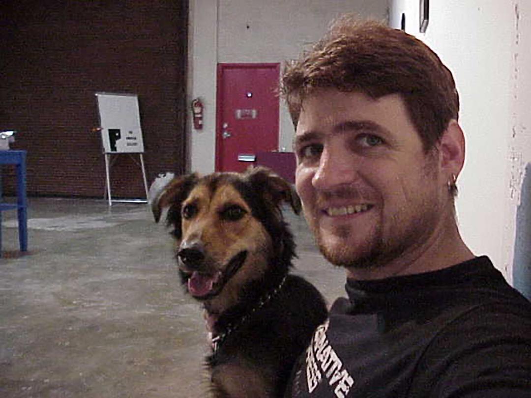 Brook Dorsch with pet Matilda at Dorsch Gallery in Wynwood, August 2000.