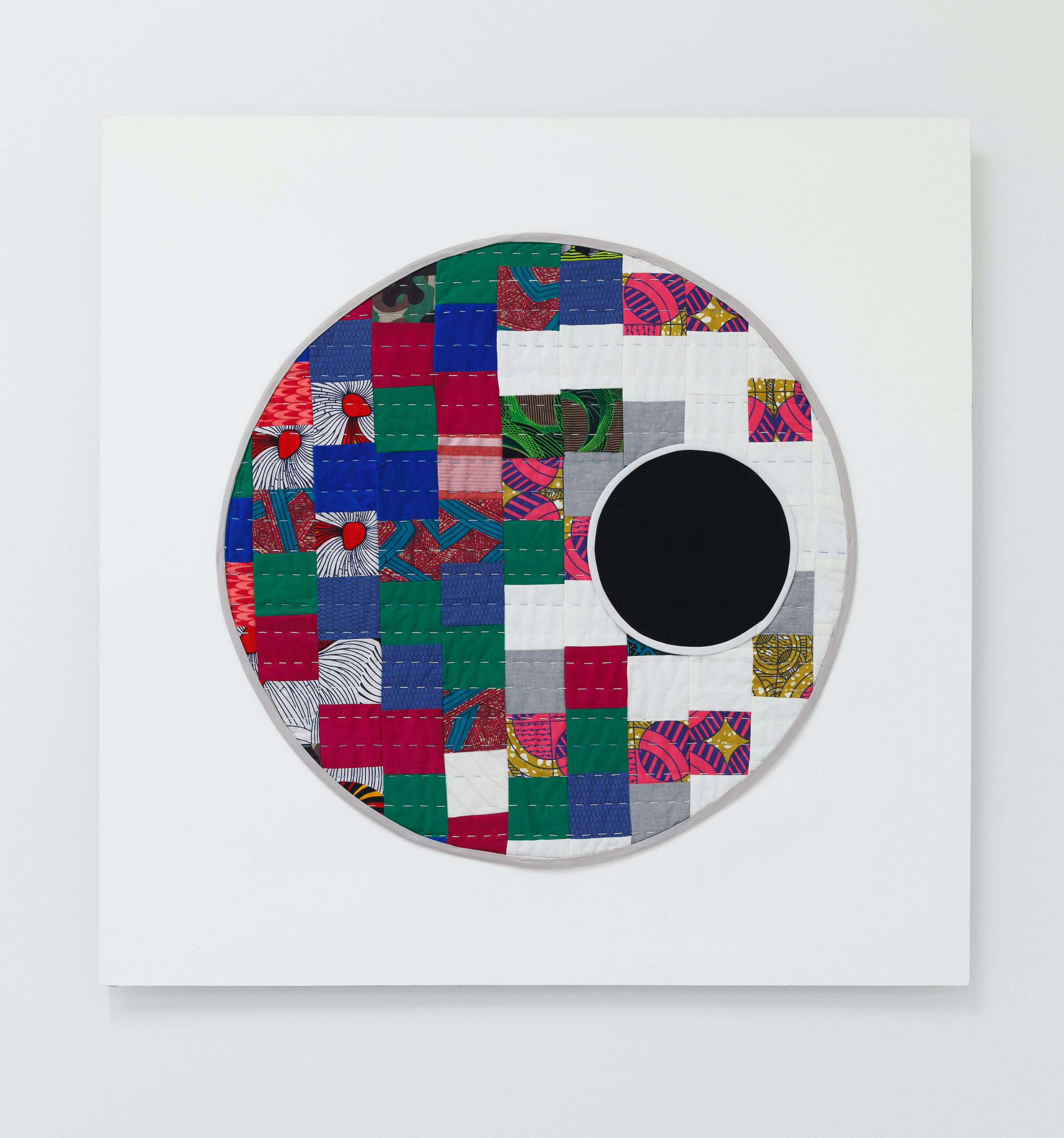 Adia Millet, Black Moon, 2020, Cotton, upholstery, fabric and silk, 30.5 x 30.5 inches, Emerson Dorsch, Miami FL