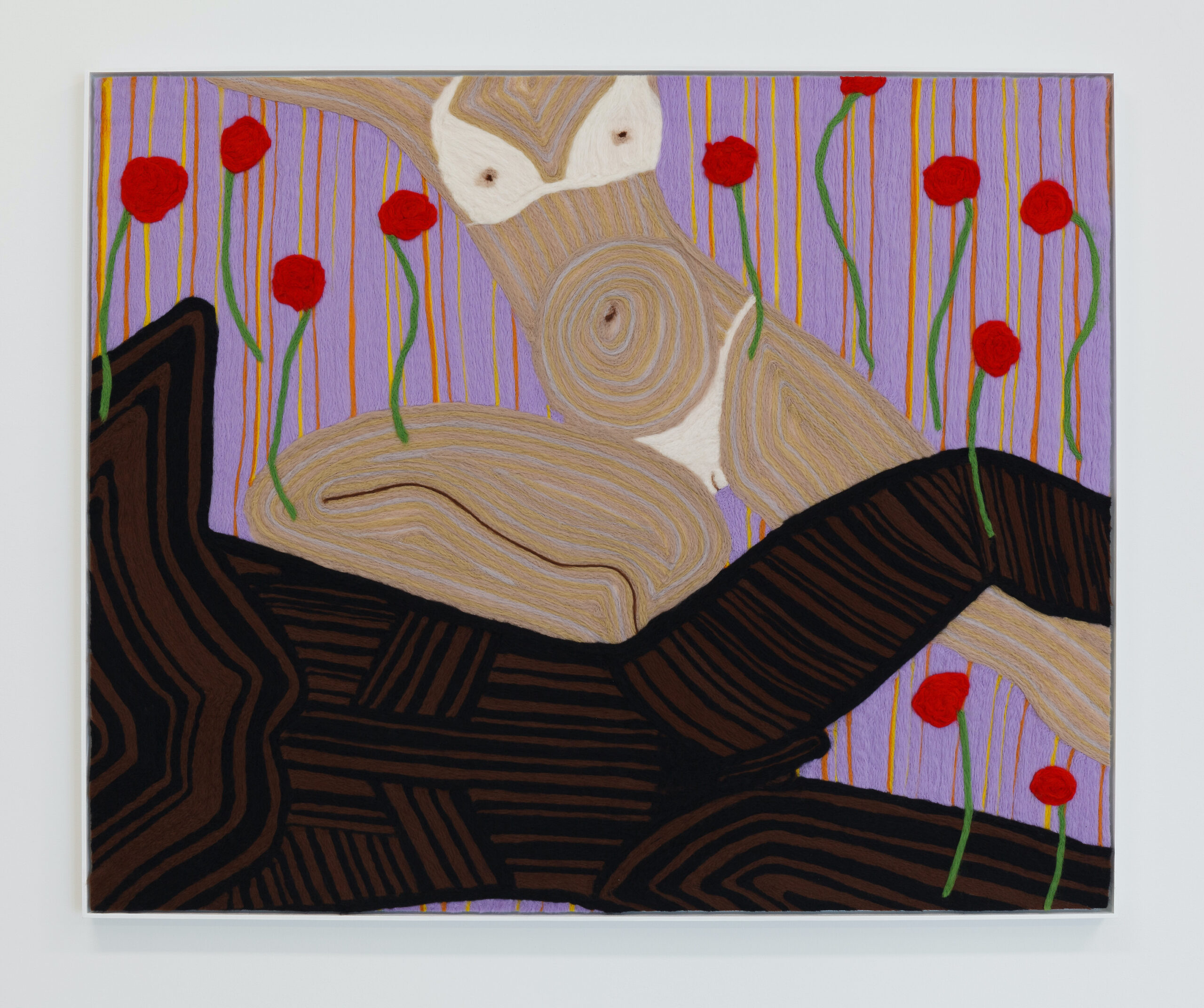 Cheryl Pope, Woman and Man Reclining on Striped Mat XVII, 2020, Needle punched wood roving on cashmere, painted wood frame, 49 x 61 inches, Emerson Dorsch, Miami FL