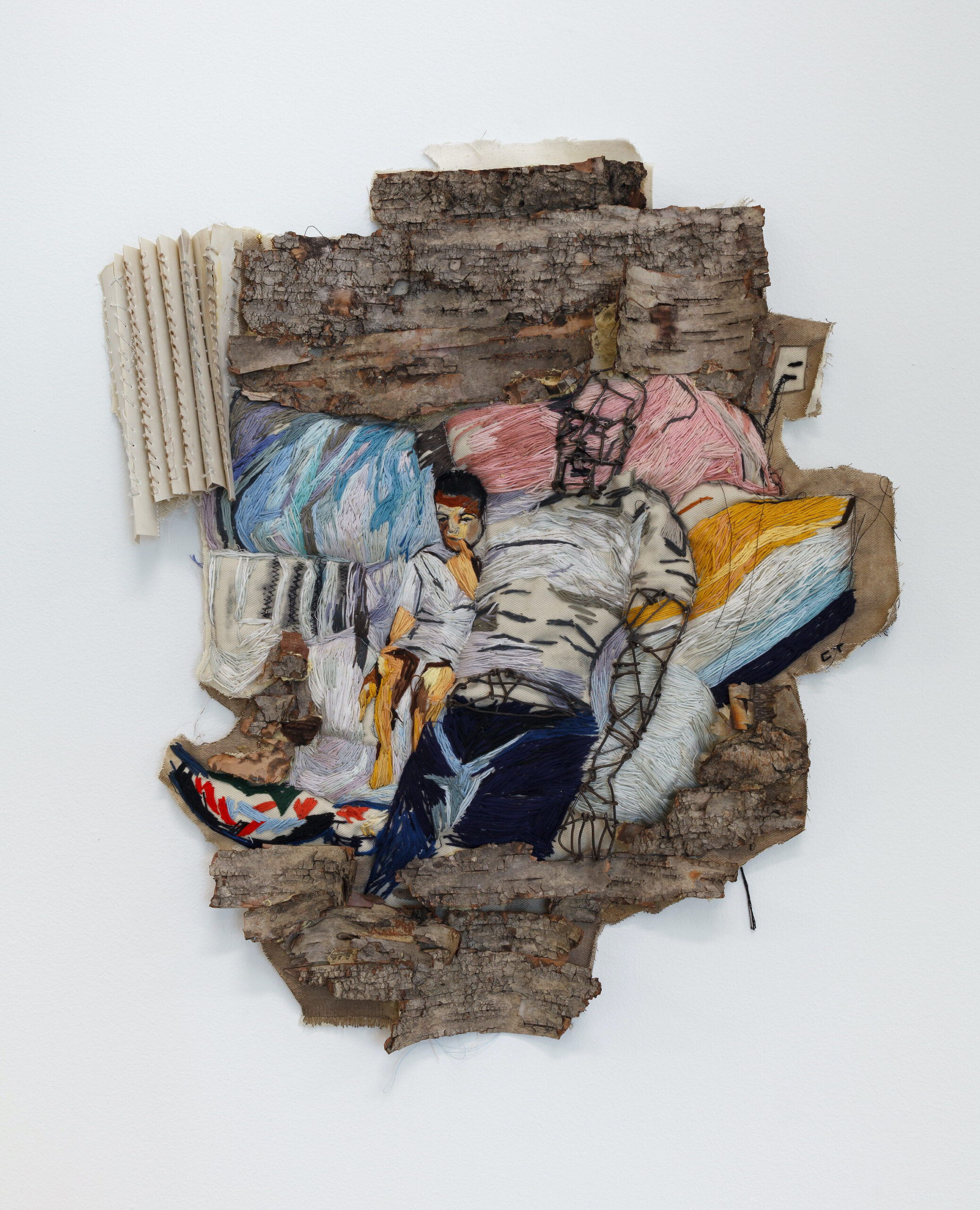 Chiffon Thomas, Iron Father, 2020, Tree bark, embroidery, floss, fabric, window blinds, chalk pastels and rebar, 23 x 20 x 3 inches, Courtesy of Teresa Enriquez and Michael Galex, Coral Gables, FL