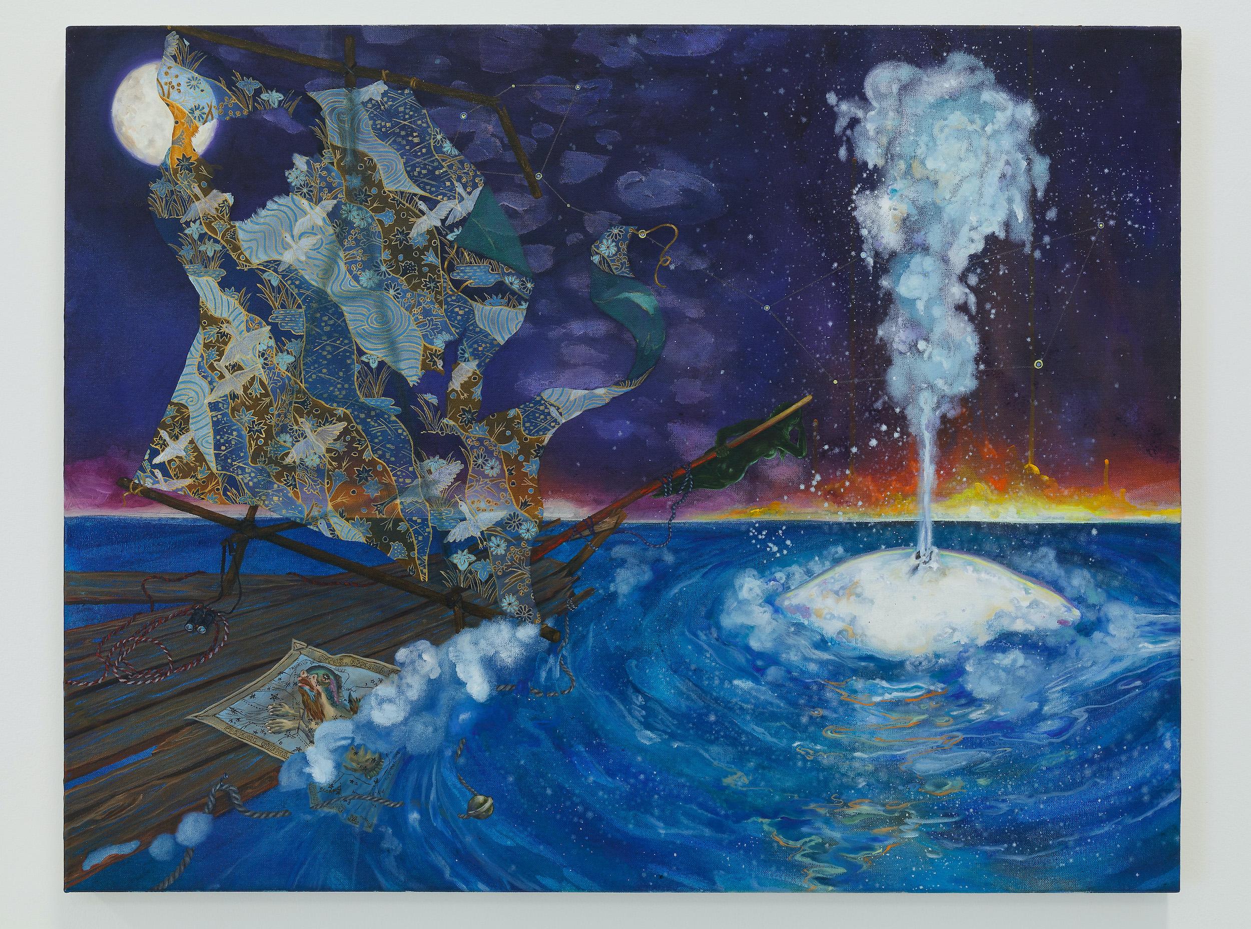 Eleen Lin, Cetus, 2015, Oil, acrylic and graphite on canvas, 28 x 36 inches, Emerson Dorsch, Miami FL