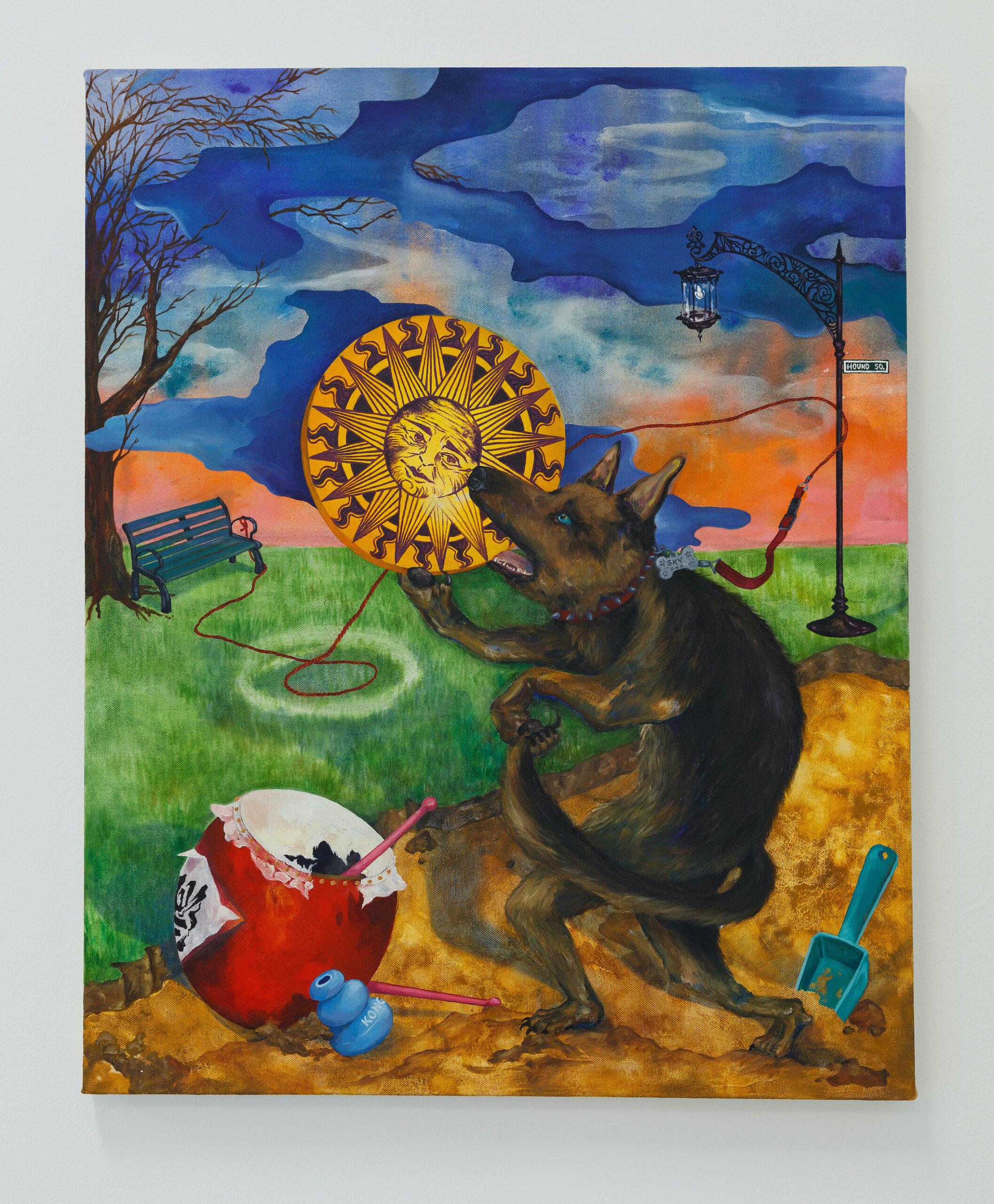 Eleen Lin, Dog Eat Sun, 2013, Oil on canvas, 24 x 30 inches, Emerson Dorsch, Miami FL
