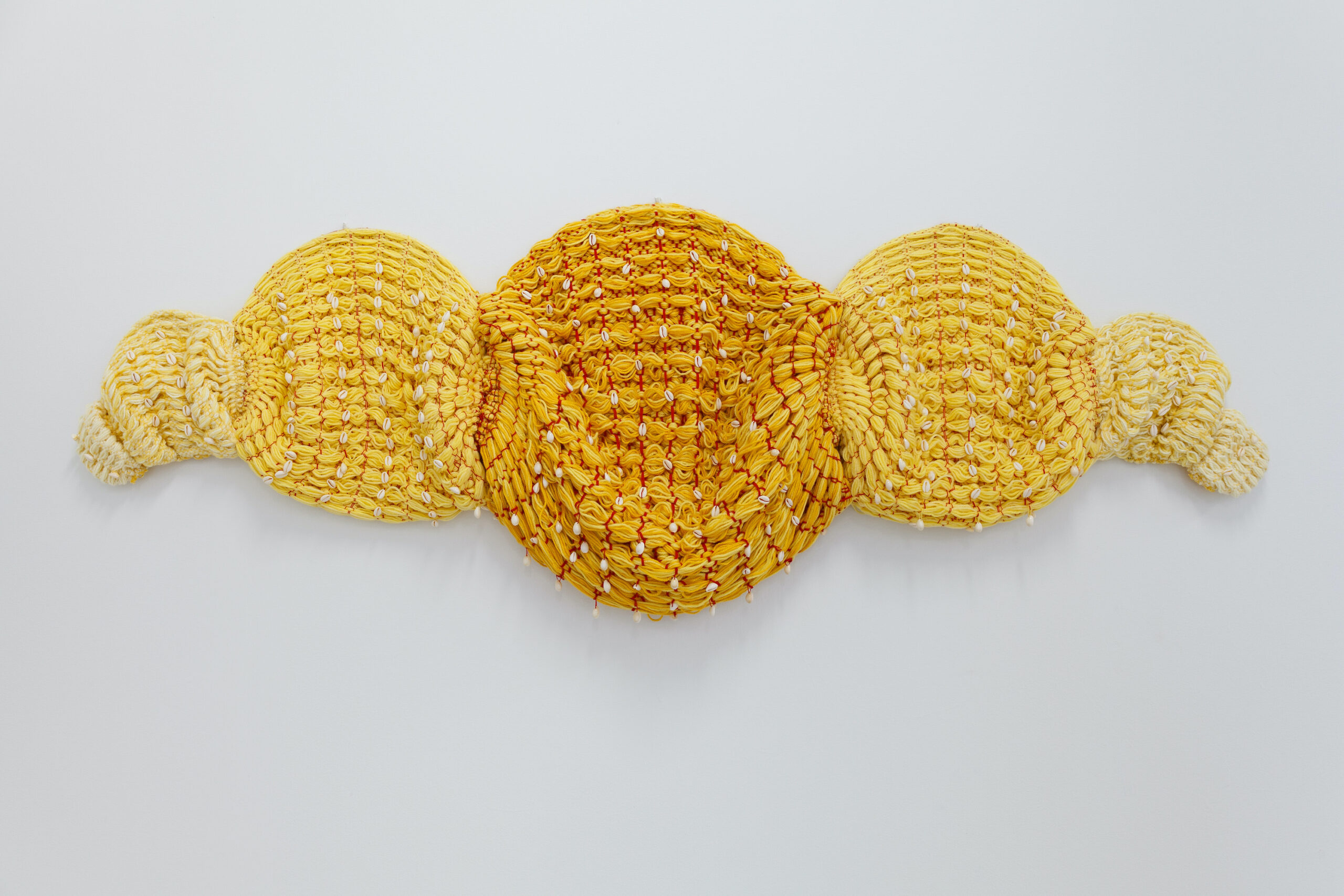 Katrina Coombs, Armour of the Other, 2020, Hand woven mixed fibers and cowrie shells, Emerson Dorsch, Miami FL