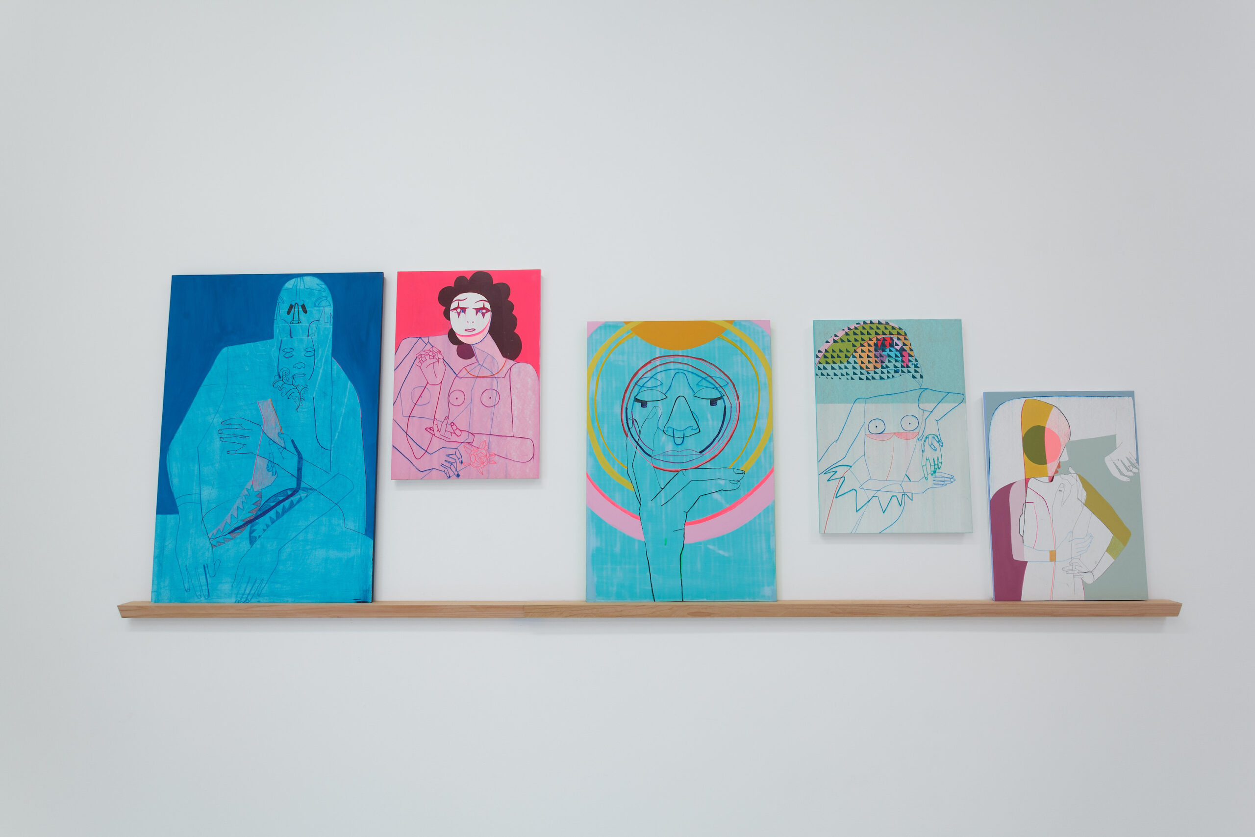 Kristen Schiele, 5 Works on a Cedar Shelf, 2021, Acrylic on panel on cedar shelf, Emerson Dorsch, Miami FL