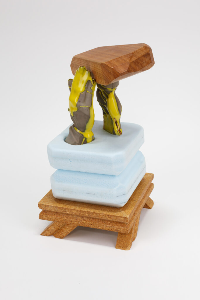 """Philip_Lique_The weight of prayer and toil, 2020, ceramic and foam with gold luster , 8"""" x 8"""" x 12"""" Unique Work"""